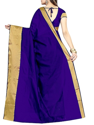 blue cotton silk bordered saree with blouse - 14887308 - Standard Image - 2
