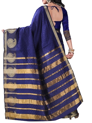 blue silk blend woven saree with blouse - 14887394 - Standard Image - 2