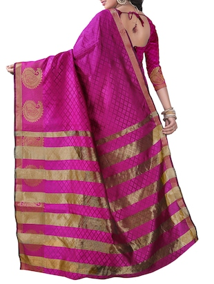 pink silk blend woven saree with blouse - 14887395 - Standard Image - 2