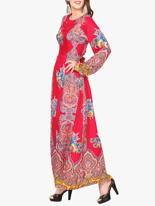 red printed maxi dress - 14887791 - Standard Image - 2