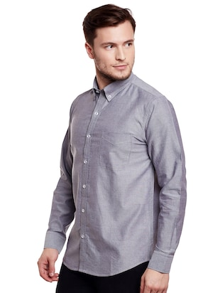 grey cotton casual shirt - 14888529 - Standard Image - 2