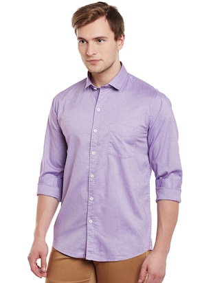 purple cotton casual shirt - 14888579 - Standard Image - 2