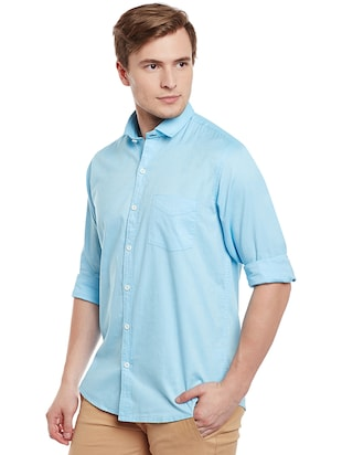 light blue cotton casual shirt - 14888582 - Standard Image - 2