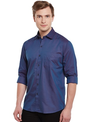 blue cotton casual shirt - 14888619 - Standard Image - 2