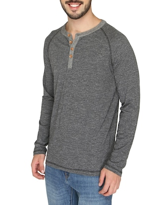 grey cotton raglan t-shirt - 14888857 - Standard Image - 2