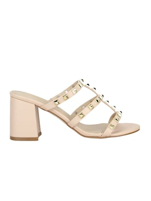 nude patent leather slip on sandals - 14889013 - Standard Image - 2