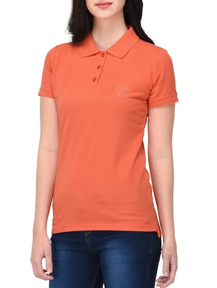 orange solid polo neck tee - 14889055 - Standard Image - 2
