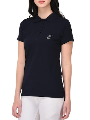 navy blue polo neck tee - 14889056 - Standard Image - 2
