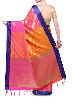 pink woven saree with blouse - 14890383 - Standard Image - 2