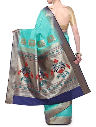 turquoise silk blend paithani saree with blouse - 14890386 - Standard Image - 2