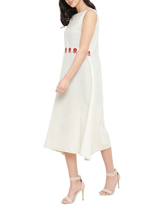 white solid a-line dress - 14890506 - Standard Image - 2