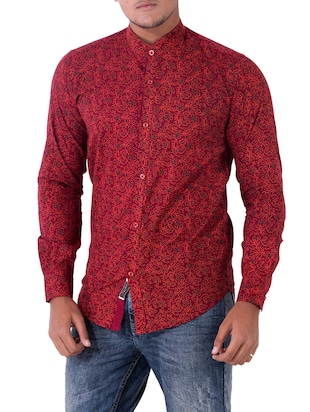 red cotton casual shirt - 14890513 - Standard Image - 2