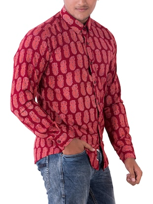 red cotton casual shirt - 14890515 - Standard Image - 2
