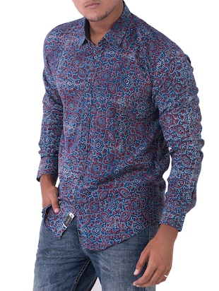 blue cotton casual shirt - 14890518 - Standard Image - 2
