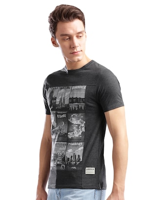 grey cotton front print t-shirt - 14890631 - Standard Image - 2