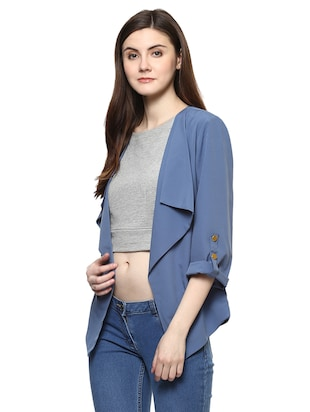 blue solid waterfall shrug - 14890707 - Standard Image - 2