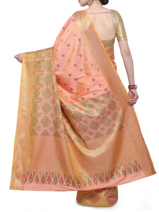 peach art silk woven saree with blouse - 14890866 - Standard Image - 2