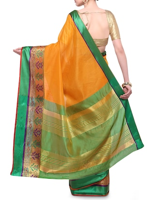 mustard cotton blend bordered saree with blouse - 14890872 - Standard Image - 2