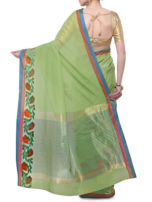 green cotton blend bordered saree with blouse - 14890877 - Standard Image - 2