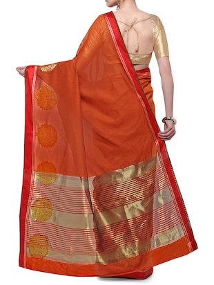 orange cotton blend bordered saree with blouse - 14890878 - Standard Image - 2