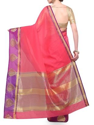 peach cotton blend bordered saree with blouse - 14890887 - Standard Image - 2