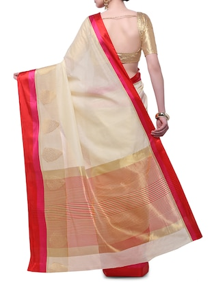 cream cotton blend bordered saree with blouse - 14890897 - Standard Image - 2
