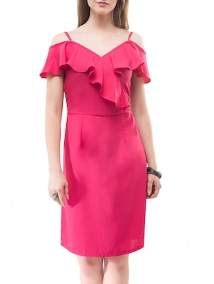 pink solid sheath dress - 14890916 - Standard Image - 2