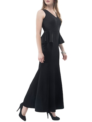 black solid gown dress - 14890925 - Standard Image - 2