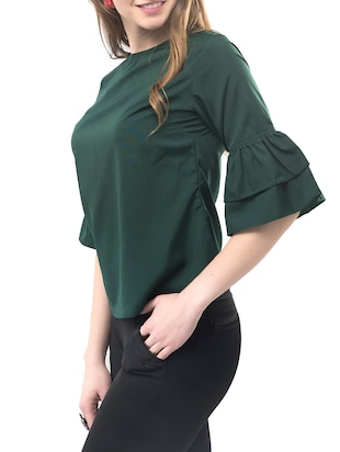 Frilled sleeved top - 14891637 - Standard Image - 2