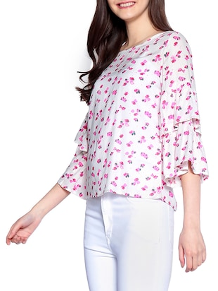 floral ruffle sleeved top - 14891682 - Standard Image - 2