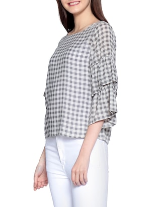 Gingham checked bell sleeved top - 14891683 - Standard Image - 2