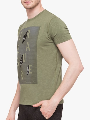 olive green cotton front print tshirt - 14891855 - Standard Image - 2