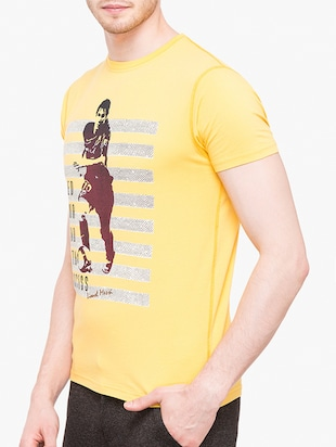 yellow cotton front print tshirt - 14891856 - Standard Image - 2