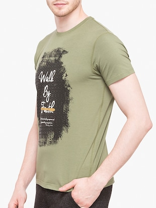 olive green cotton chest print t-shirt - 14891861 - Standard Image - 2