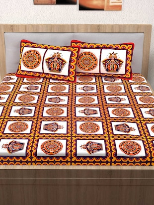 120 TC 100% Cotton Printed 2 Double Bedsheet With 4 Pillow Covers - 14893281 - Standard Image - 2