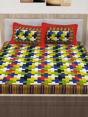 120 TC 100% Cotton Printed 2 Double Bedsheet With 4 Pillow Covers - 14893284 - Standard Image - 2