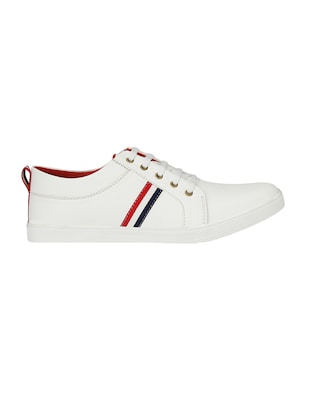 white leatherette lace up sneaker - 14893349 - Standard Image - 2
