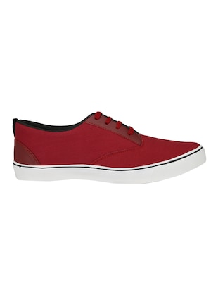 red Canvas lace up sneaker - 14893356 - Standard Image - 2