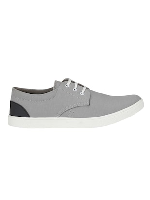 grey Canvas lace up sneaker - 14893357 - Standard Image - 2