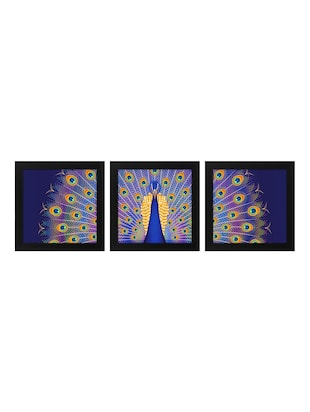 Peacock Print 3Pc Frame For Living Room And Bed Room (Wood, 30 cm x 3 cm x 30 cm, Special Effect Textured) - 14893533 - Standard Image - 2