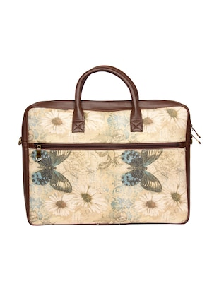 beige  jute regular laptop bag - 14893572 - Standard Image - 2