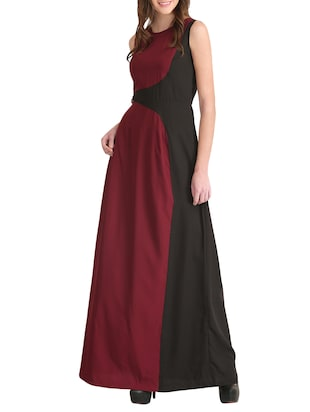 maroon color block gown dress - 14893749 - Standard Image - 2