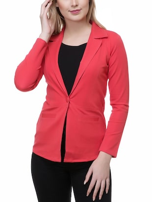 solid red cotton blazer