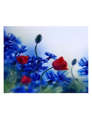 Deep Red & Blue Hues Floral Canvas Painting - 14893951 - Standard Image - 2