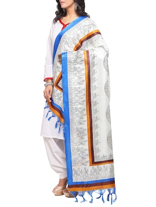 off-white art silk printed dupatta - 14894010 - Standard Image - 2