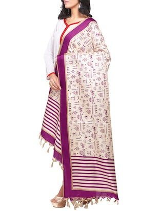 purple art silk printed dupatta - 14894023 - Standard Image - 2