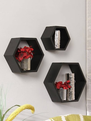 Home Deco Hexagon Shape Storage Wall Shelves Set Of 3 - 14894258 - Standard Image - 2