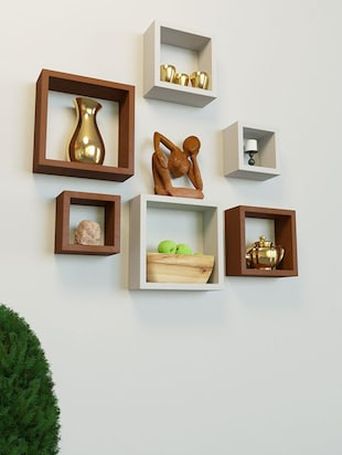 Wooden Nesting Square Wall Shelf Set of 6 - 14894324 - Standard Image - 2