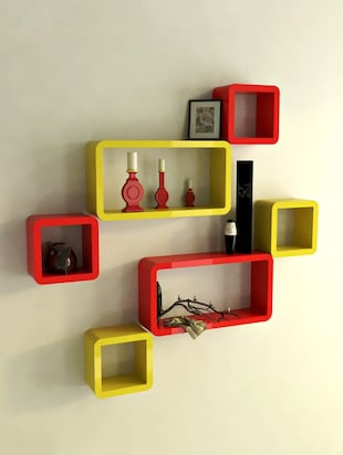 Decor Wall Rack Shelves Cube Rectangle Designer Wall Shelf Set Of 6 - 14894370 - Standard Image - 2
