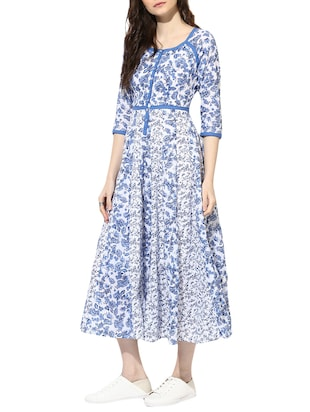 blue cotton maxi dress - 14894714 - Standard Image - 2